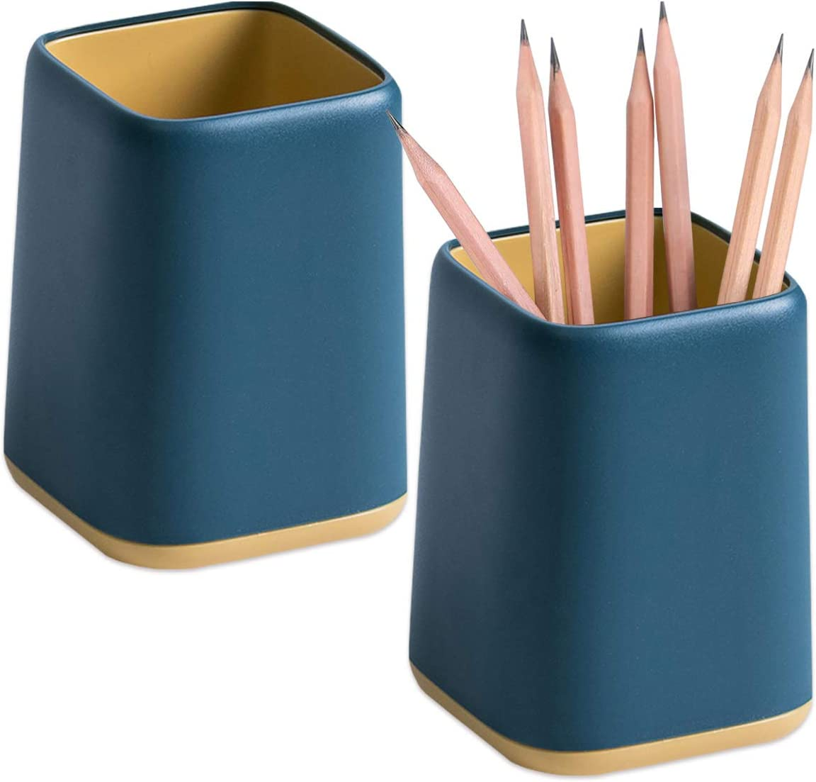 2 Pack Desk Pen Holder,Two-Tone Cute Pen Cup Makeup Brush Holder,Durable Desktop Organizer Pencil Holder for Desk,Vanity Table,Office Supplies (Blue)