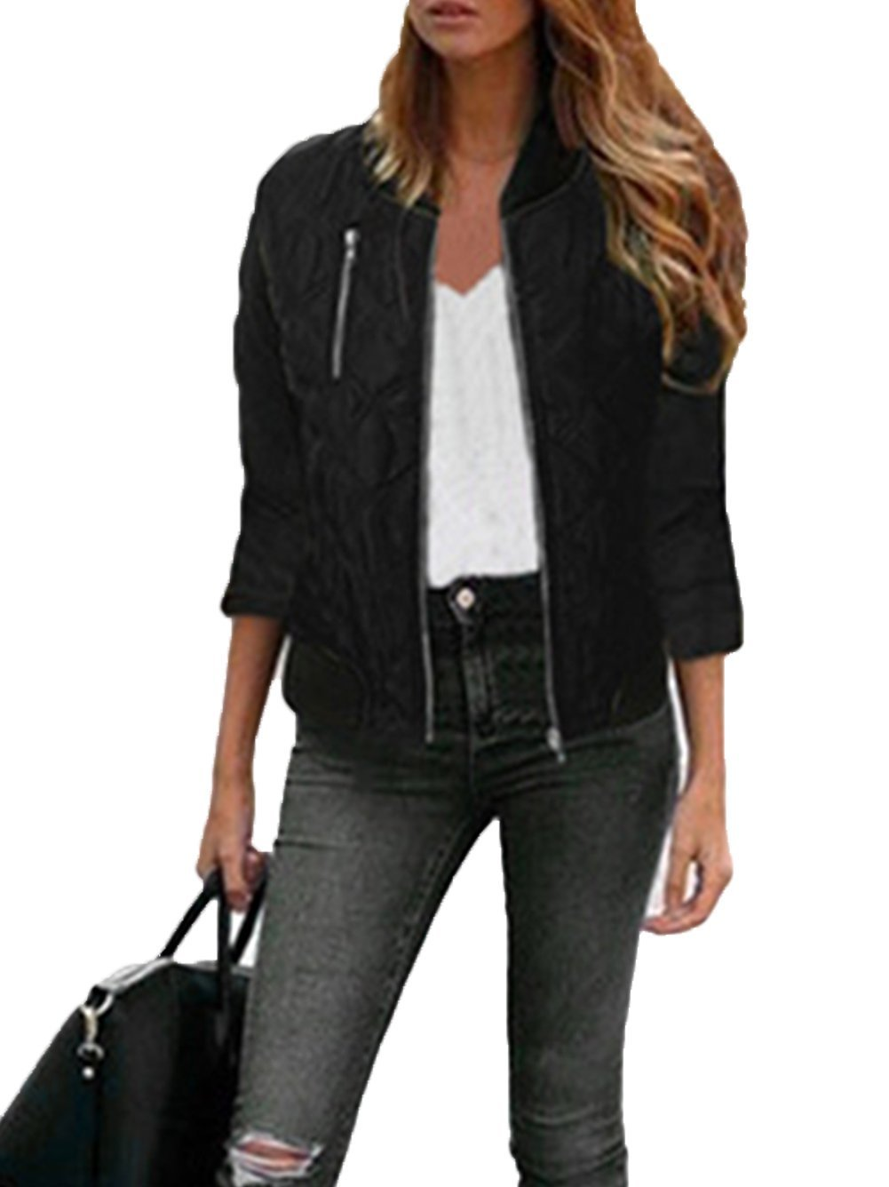 iChunhua Womens Casual Short Bomber Jacket Quilted Lightweight Zip Jacket M Black
