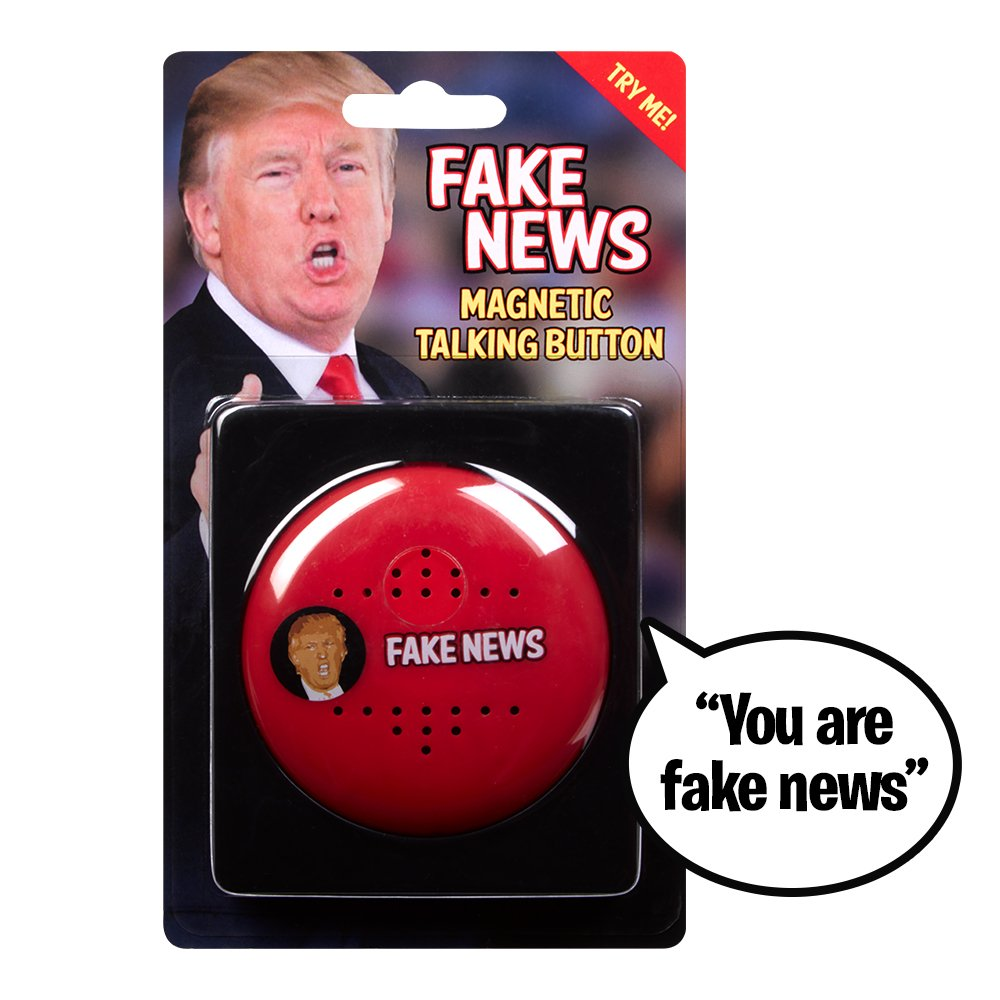 YOU ARE FAKE NEWS Talking Trump Button - Says 7 Fake News Lines in Donald Trump 's Real Voice - Push Button Whenever You Hear Fake News - Perfect for Office - Funny Gift for Democrat or Republican