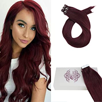 ba3a48cf208 Moresoo 16 Inch Extension Tape Human Hair 50 Grams 20 Pieces Per Pack Glue  Hair Extensions Wine...