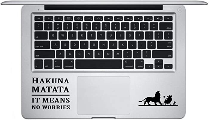 WallDecalsAndArt Lion King/Hakuna Matata Swahili Mac Pro Retina Decal is a Walt Disney Quote Decal. Laptop Sizes 11, 12, 13 and 15 inch. Looks Great with Your Lion King Movie Theme. Many Colors-Black