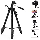 Portable Lightweight Tripod for Camera iPhone Smartphone, Fotopro Aluminum Travel Tripod with Bluetooth Remote for DSLR Camera, Canon, Sony, Nikon, 360°Panorama Ball Head and Carrying Bag