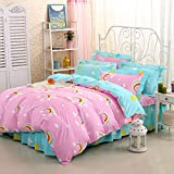 Zhiyuan Rainbow Reversible Duvet Cover Comforter Case, Twin, Light Blue & Pink