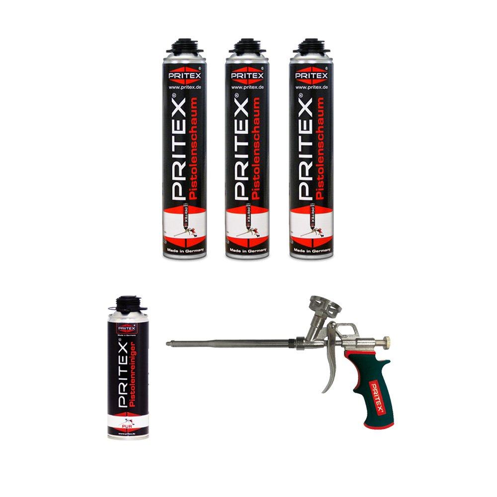 XL Set 3 x 750ml Pistolenschaum + 1 Reiniger + 1 Schaumpistole Montageschaum Bauschaum PRITEX®