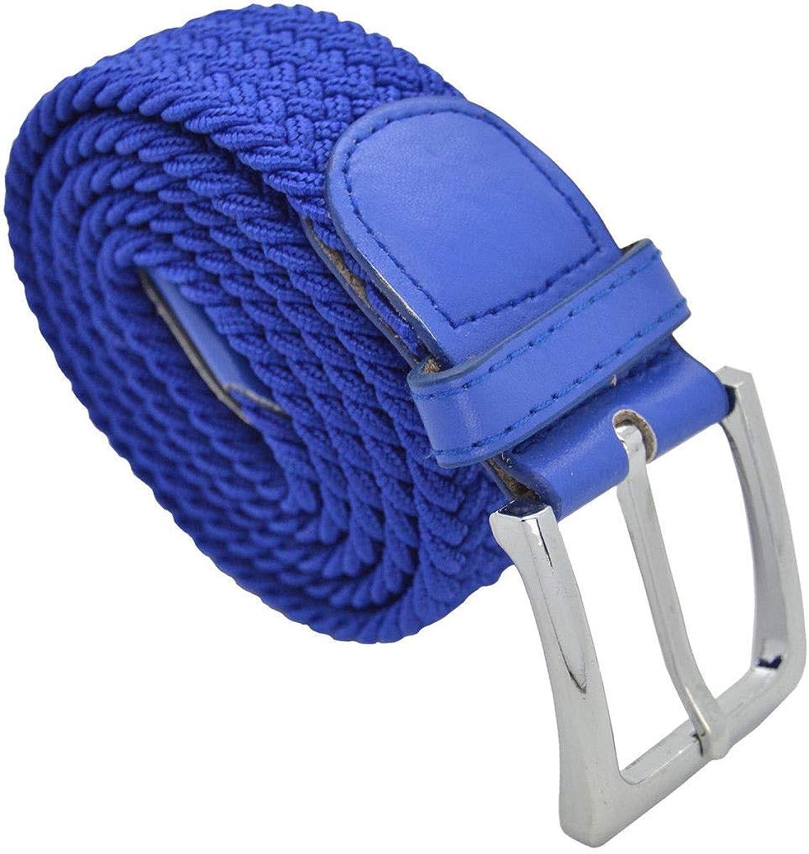 Royal Blue #AAAS Top Men Elastic Fabric Woven Belt Expandable Braided Stretch Belt L
