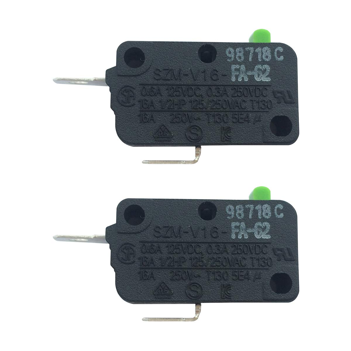 LONYE SZM-V16-FA-62 3B73361E Microwave Oven Door Micro Switch for LG Kenmore Starion Microwave 6600W1K001C Dr47(Normally Closed)(Pack of 2)