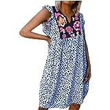 AODONG Dresses for Women,Womens Sleeveless Floral Loose Fit Ruffle Summer Leopard Beach Mini Dress
