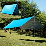 Kamo Hammock Rain Fly Tent-Portable Waterproof Hammock Tarp Shelter-Easy Set Up Lightweight Tent Traps for Outdoor Camping,Hiking,Sunshade and Picnic Mat(10ft10ft) (Blue) Review