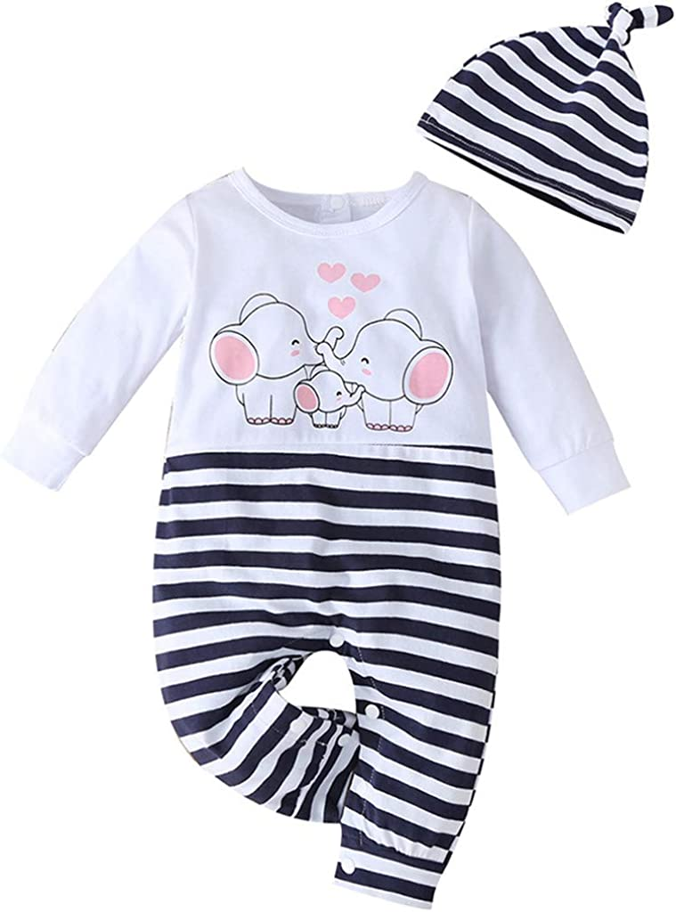 Hut Allence 2pcs Neugeborenes Baby M/ädchen Jungen Elefanten Familie Valentinstag Strampler Overall