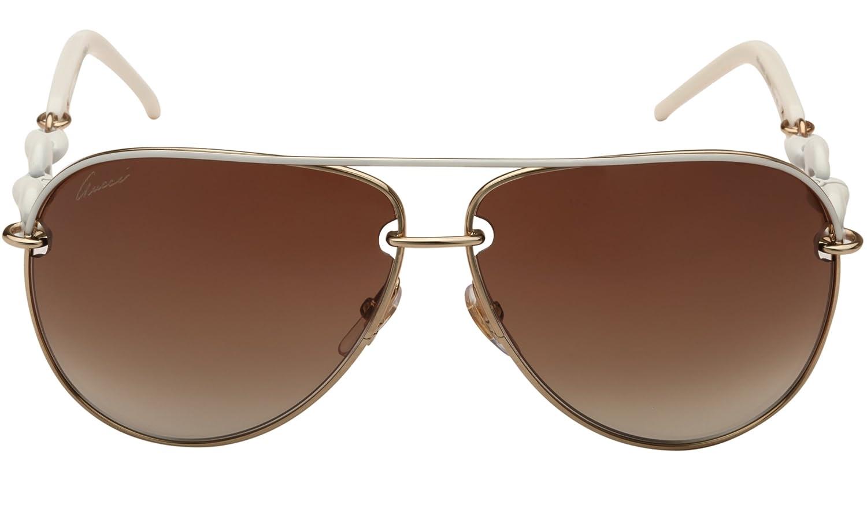f50c1b790ac8c0 Gucci Chain Effect Temple Aviator Sunglasses in Ice Gold GG 4225S WQC 42 63  63 Brown Gradient  Amazon.fr  Vêtements et accessoires