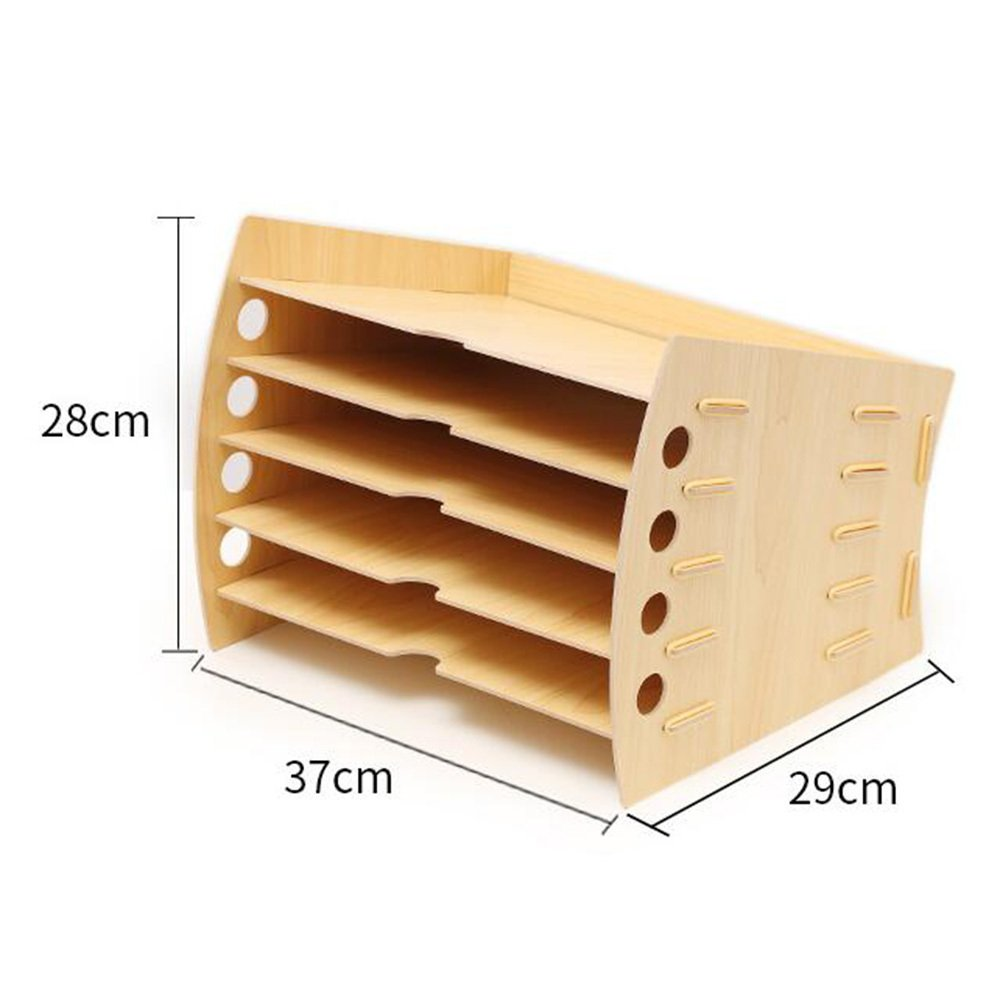 Bookcase Office Desk Organizer Multi-Layer Office Supplies Rack Data Rack Creative Stationery Document Storage Box,WoodColor by Bookcase (Image #3)