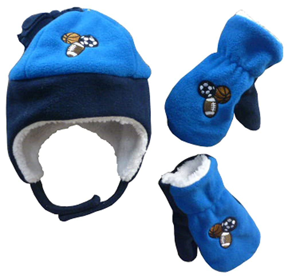 3 sports balls embroidery. Full soft sherpa lining in hat and mittens. Hat  has hook and loop chin strap  hanging tassel on hat crown 2ae5a1bfb16d