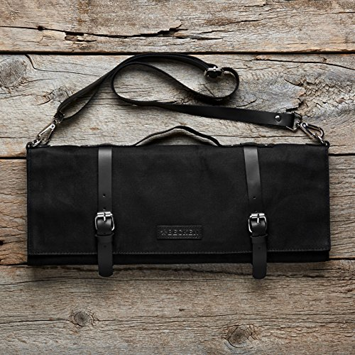 Chef Knife Roll Bag - Handmade Waxed Canvas and Leather Knife Bag Stores 10 Knives + Zipper Pocket and Shoulder Strap (Black) by Becken Leather Co. (Image #7)