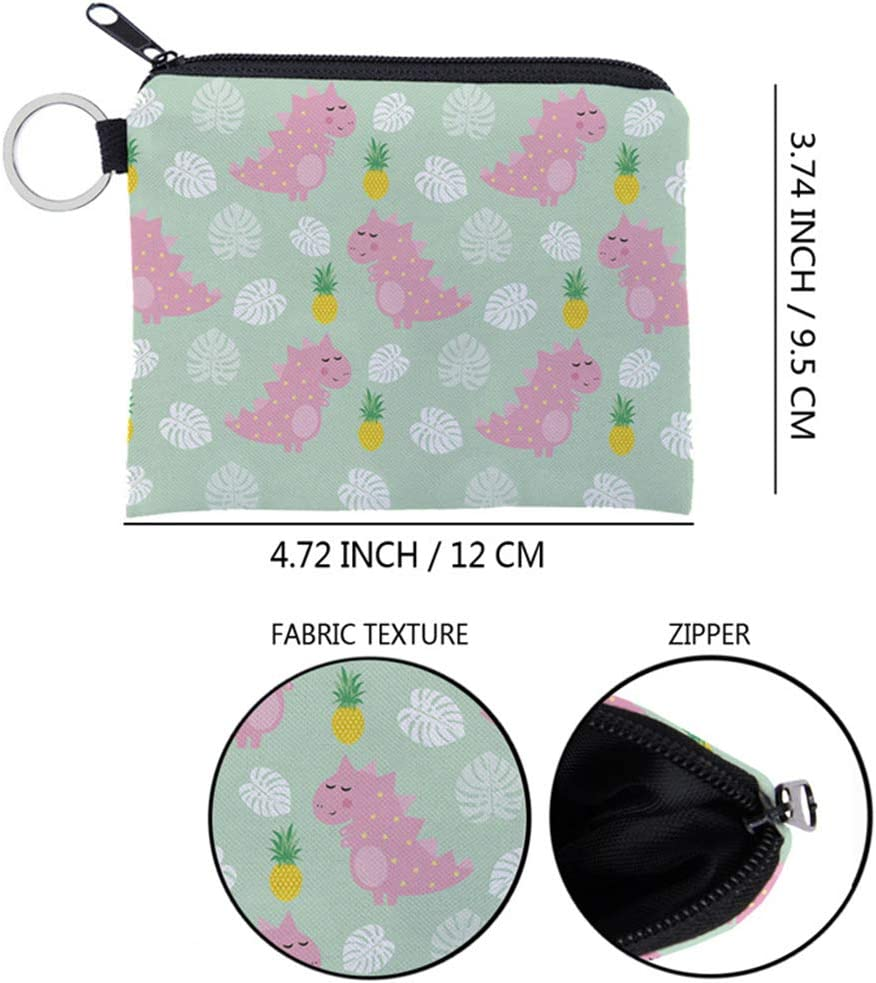 Cute Cartoon Dinosaur Printed Coin Change Purse Decorative Coin Pocket Key Bag Wallet for Lady Kids Adults