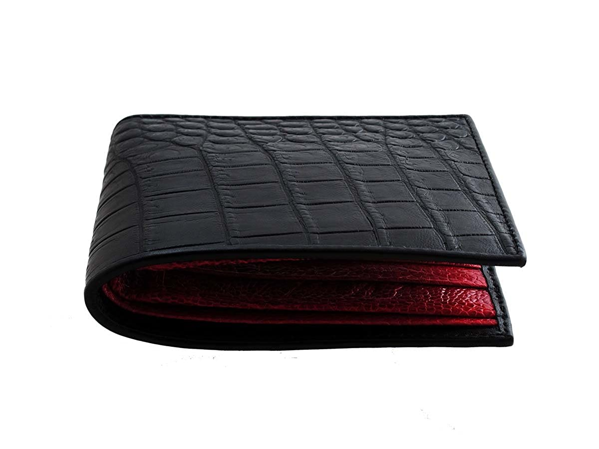 4b08199a0d9e Black Crocodile Wallet → Genuine Crocodile Leather → Black   Red at Amazon  Men s Clothing store