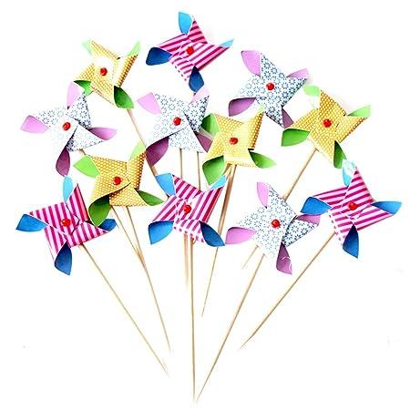 Spaufu - Juego de 12 molinillos de viento para decoración de ...