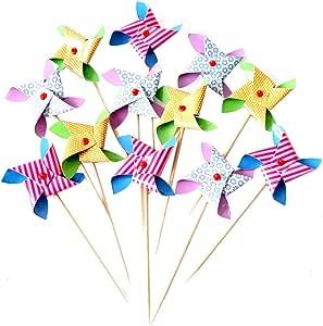Demarkt Palillos de Dientes Toothpicks de la Torta Palillos de Dientes de Molino de Viento Decoraciones Magdalena Plug Flags Will Gire el m,olino de Viento