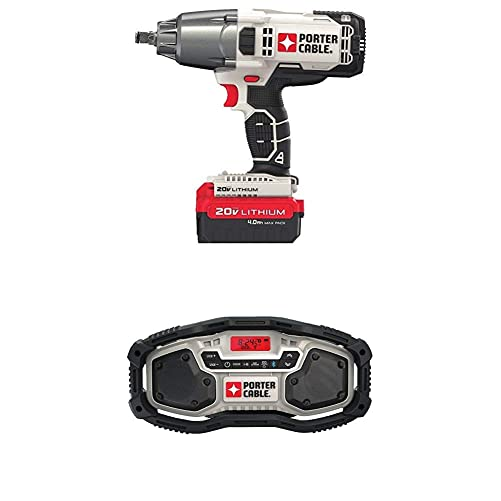 PORTER-CABLE PCC740LA 1 2 Cordless Impact Wrench with PORTER-CABLE PCC771B Bluetooth Radio