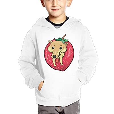 GLSEY Dog Inside The Strawberry Children's Casual Hooded Pocket Hoodie
