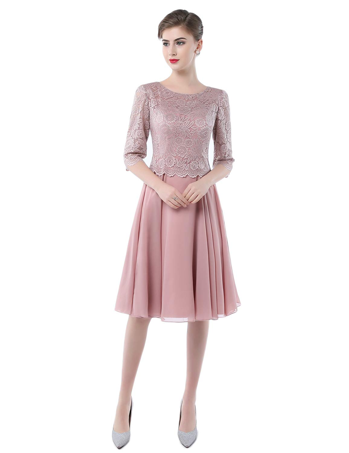 A Line Two Piece Mother Bride Dresses Plus Size Bridal Gown Empire Waist  Chiffon Evening Dresses 2018 Formal Long Sleeves Party Gown YJ002 Dusty  Rose ...
