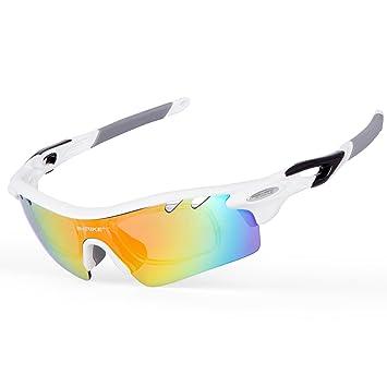 INBIKE Gafas Polarizadas De Ciclismo De Sol con 5 Lentes Intercambiables UV400 Y Marco Irrompible De TR-90 para Hombre, 100% De ProteccióN UV(Blanco): ...