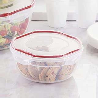 product image for Sterilite 0 Ultra-Seal 2.5 Quart Bowl, Clear Lid & Base with Rocket Red Gasket, 4-Pack