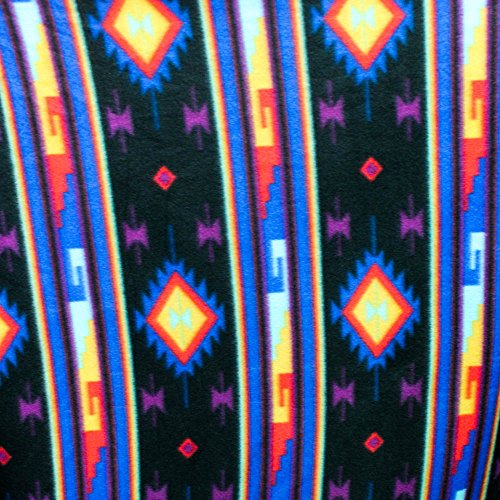 """Midnight Moon Indian Print Anti Pill Fleece Fabric, 60"""" Inches Wide – Sold By The Yard (FB) (Moon Fleece Fabric)"""