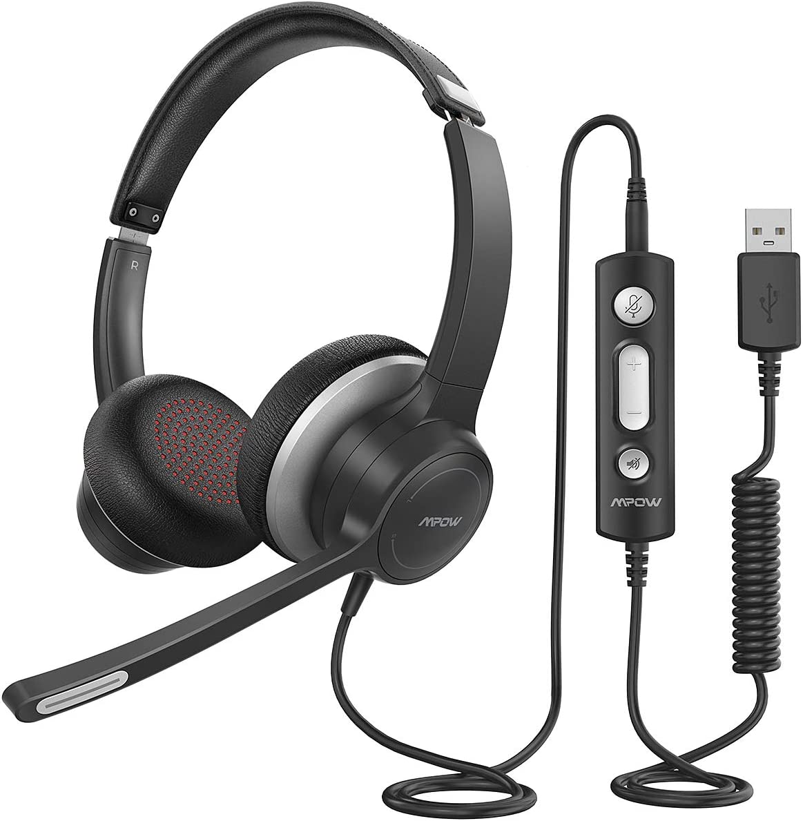 Mpow HC6 USB Headset with Microphone, Comfort-fit Office Computer Headphone, On-Ear 3.5mm Jack Call Center Headset for Cell Phone, 270 Degree Boom Mic, in-line Control with Mute for Skype, Webinar