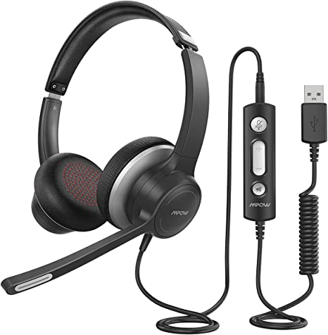 Amazon Com Mpow Hc6 Usb Headset With Microphone Comfort Fit Office Computer Headphone On Ear 3 5mm Jack Call Center Headset For Cell Phone 270 Degree Boom Mic In Line Control With Mute For Skype Webinar Computers