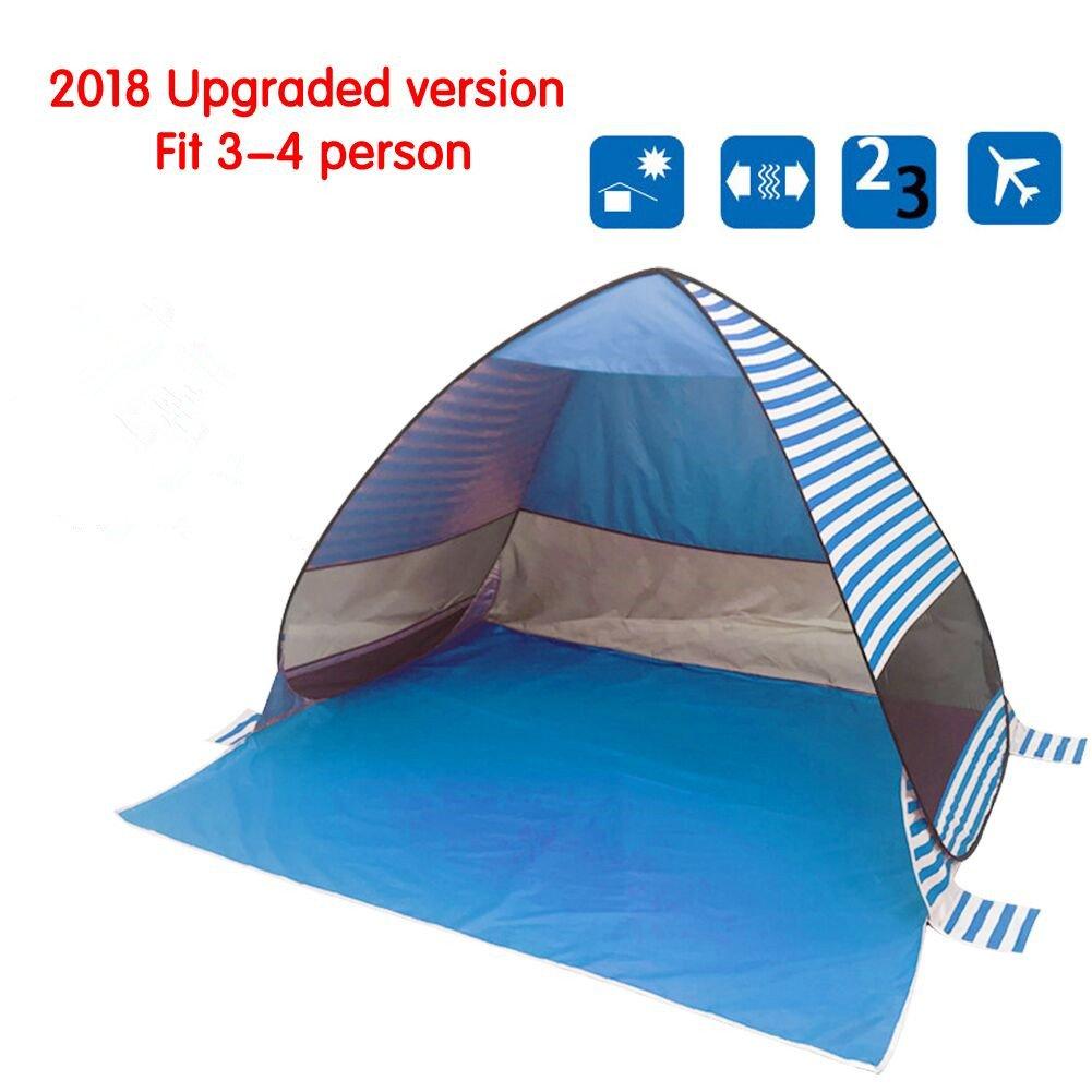 STWIE Tienda de campaña portátil para playa, 3 o 4 personas, impermeable, automática, para mochilar, senderismo, camping, al aire libre, toldo, cabana, con bolsa de transporte(azul)