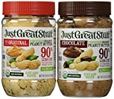 Betty Lou's Just Great Stuff Organic Powdered Peanut Butter and Organic Powdered Chocolate Peanut Butter Combo 6.35 Ounce jars