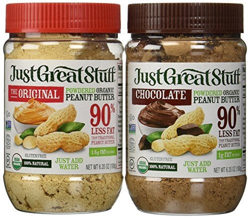 Betty Lou's Just Great Stuff Organic Powdered Peanut Butter and Organic Powdered Chocolate Peanut Butter Combo 6.35 Ounce jars by Just Great Stuff
