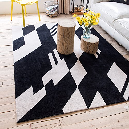 SE7VEN Simple modern rectangular carpet Nordic living room coffee mat Bedroom bedside mats Anime maid outfit-B - Nordic Uniquely