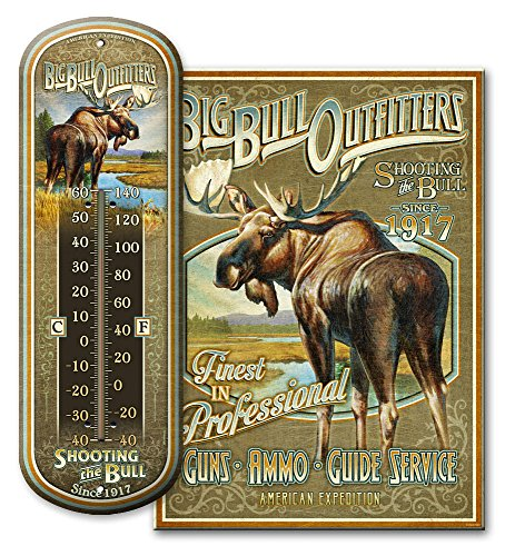 Large Tin Sign/Large Tin Thermometer Combination Package (Bull -