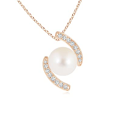 Angara Freshwater Cultured Pearl Bypass Pendant with Diamonds bgwjhwk