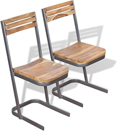 vidaXL 4x Solid Teak Wood Dining Chairs Iron Frame Kitchen Furniture Seat