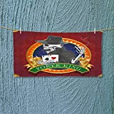 Nalahome Quick Dry Towel Background with Dead Skeleton Poker King Gambler Vegas Smart Game Graphic Multicolor Lightweight, High Absorbency L39.4 x W9.8 inch