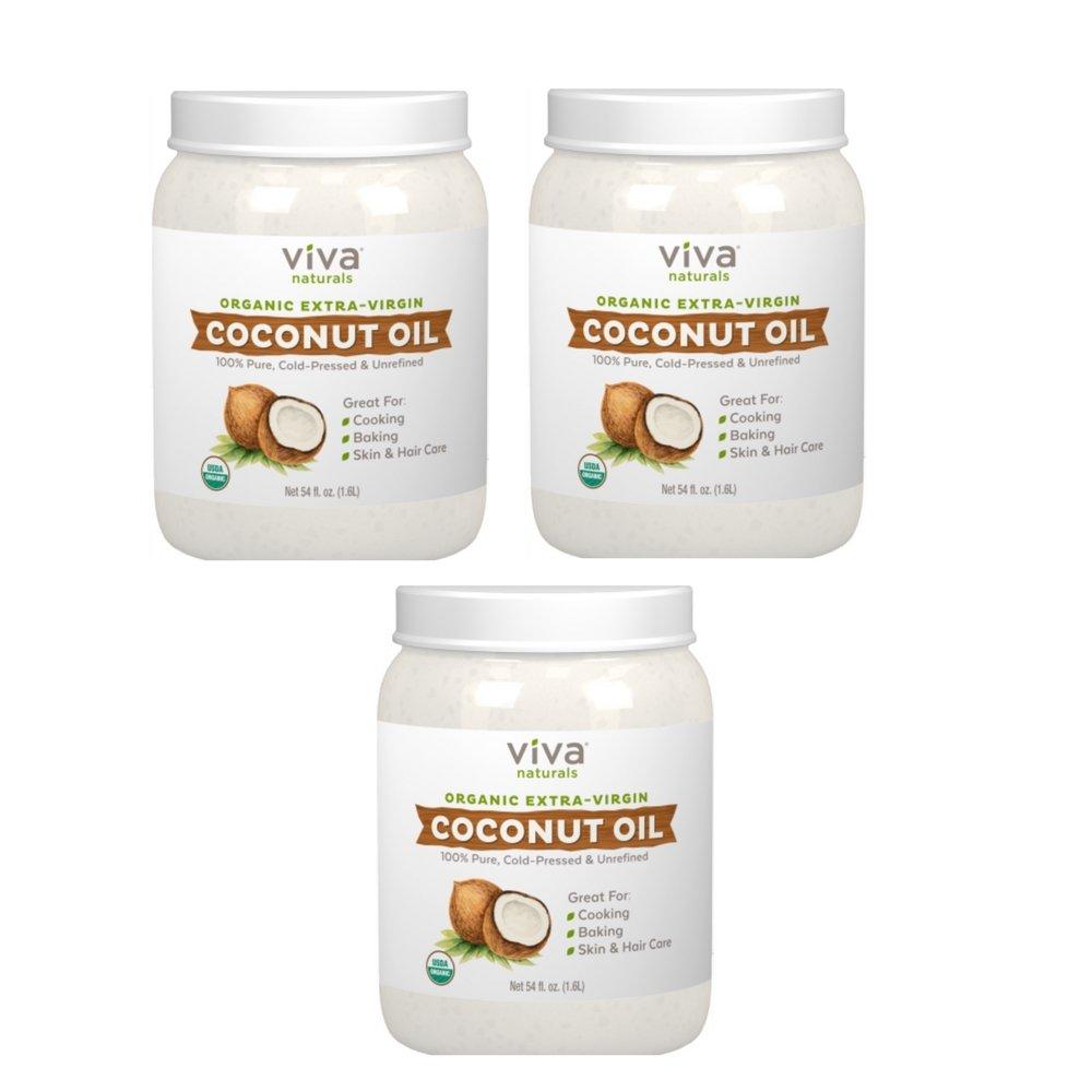 Viva Naturals Organic Extra Virgin Coconut Oil, 54 Ounce (3 PACK)