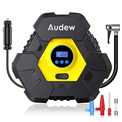 Audew Upgraded Portable Air Compressor Tire Inflator,12V 150PSI Air Pump with Auto Shut Off,Warning Light and Power Cord Storage,Digital Tire Pump for Car,Bicycle and Other Inflatables: Automotive
