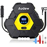 Audew Upgraded Portable Air Compressor Tire Inflator,12V 150PSI Air Pump with Auto Shut Off,Warning Light and Power Cord Storage,Digital Tire Pump for Car,Bicycle and Other Inflatables