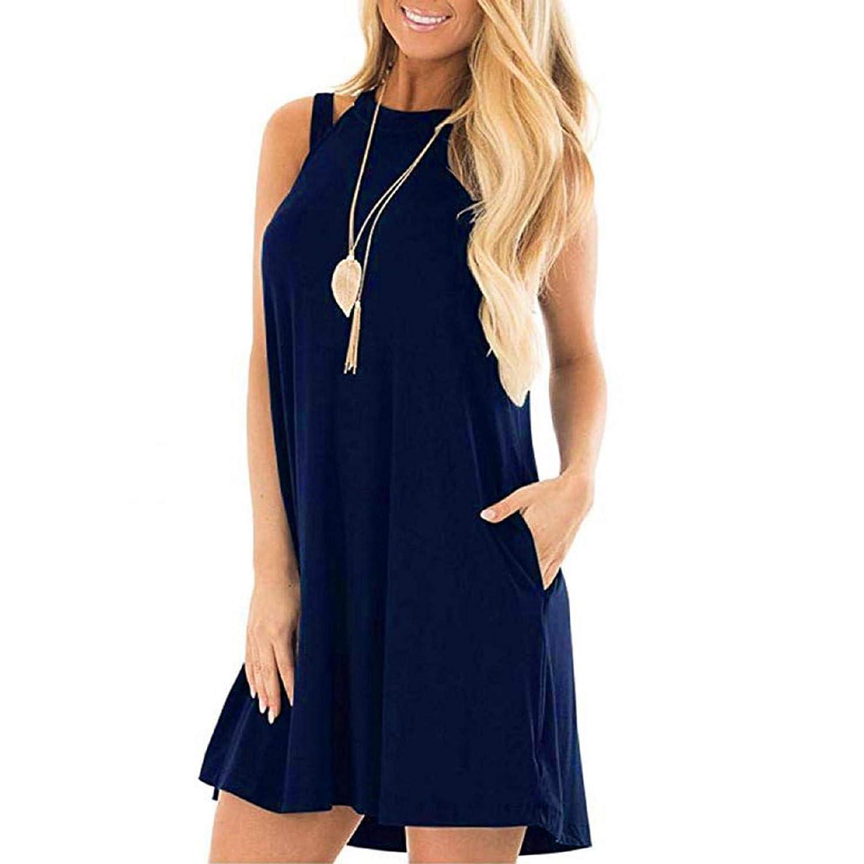 Mnyyycxen Womens Casual Tank Dress Racerback Sleeveless Short Dresses with Pockets
