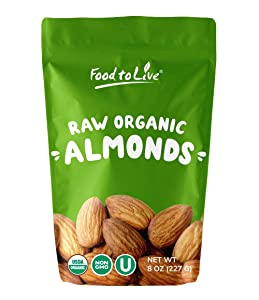 Raw Organic Almonds, 8 Ounces - Bulk, Non-GMO, No Shell, Whole, Unpasteurized, Unsalted, Kosher