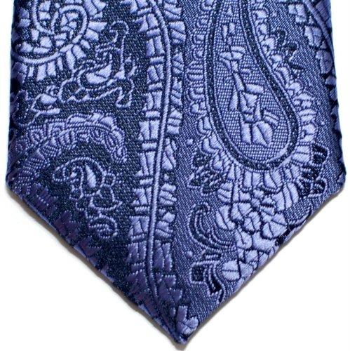 Retreez Paisley Art Pattern Woven Microfiber Skinny Tie - Purple on Navy Blue