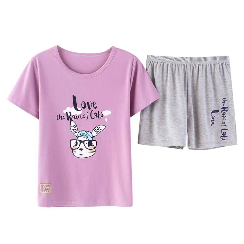 Vopmocld Big Girls Short Sleeve Summer Pajama Sets Cute Rabbit Pattern Sleepwear