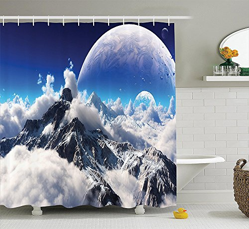 [Fantasy House Decor Collection Celestial View of Snow Capped Mountains and A Transparent Alien Planet Polyester Fabric Bathroom Shower Curtain Set with Hooks White] (The Pope Costume At The White House)