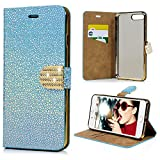 iPhone 8 Plus Case Wallet, iPhone 7 Plus Case, KASOS Luxury Bling Stone Pattern Premium PU Leather TPU Inner Shell with Shiny Diamond Magnetic Front Closure Kickstand Card Holders Bumper Cover - Blue