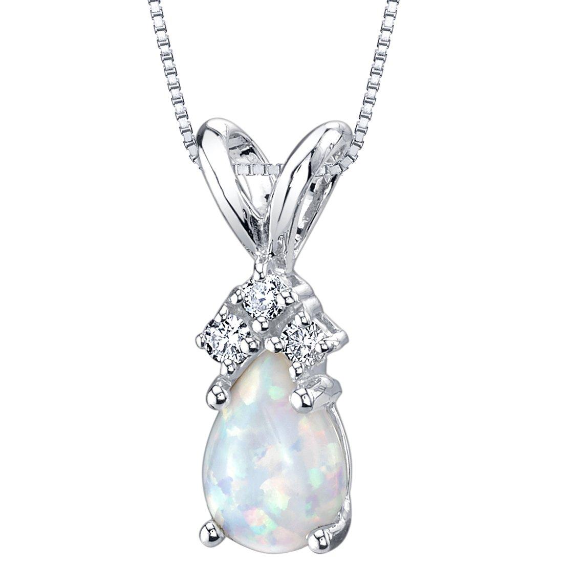 84587948b0b Amazon.com  14 Karat White Gold Pear Shape Created Opal Diamond Pendant   Jewelry