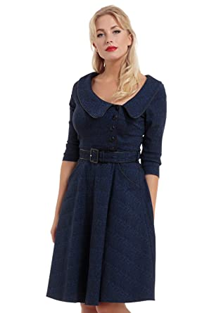 b415385a340a VOODOO VIXEN Womens Lilly Blue Off Centre Collar Dress: Amazon.co.uk:  Clothing