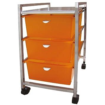 Laroom Carrito Ancho 3 cajones, Chrome Acero Inoxidable Structure y PP Drawers, Naranja: Amazon.es: Hogar
