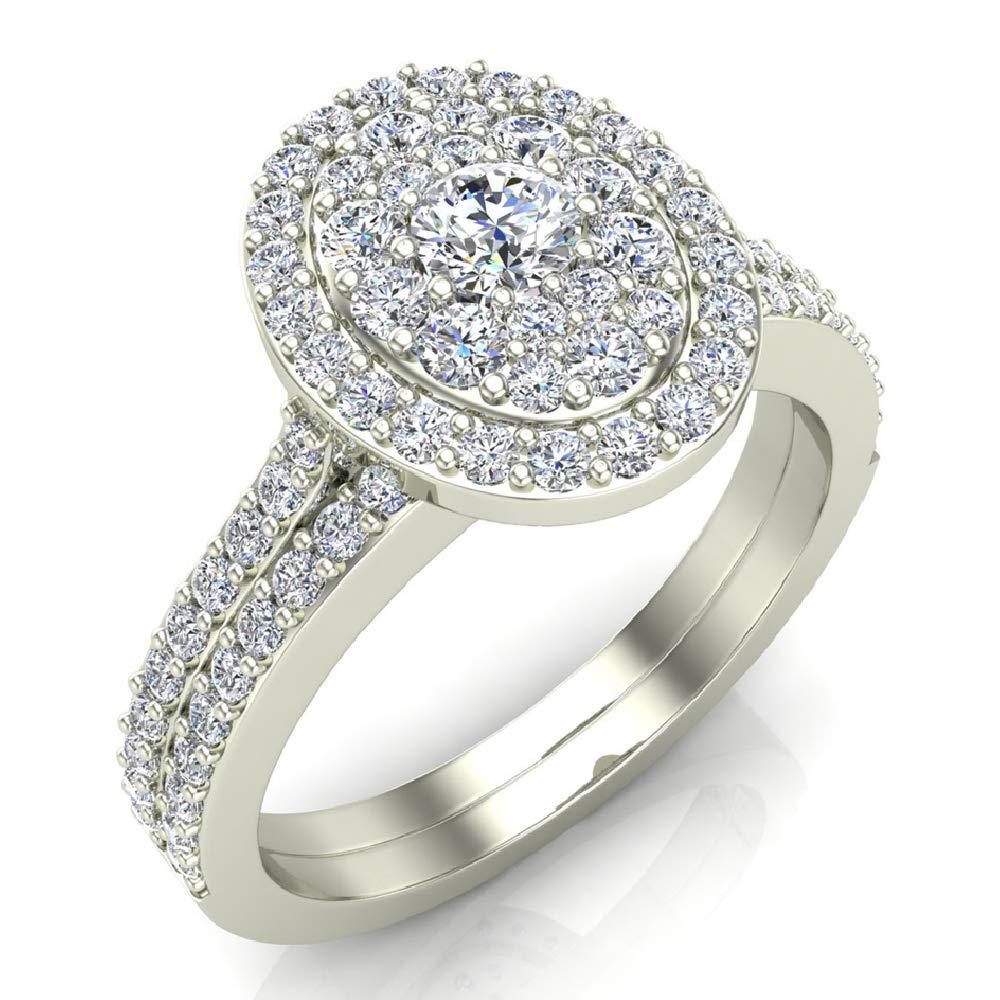 0.94 ct tw Cluster Diamond Wedding Ring Bridal Set 14K White Gold (Ring Size 7.5)